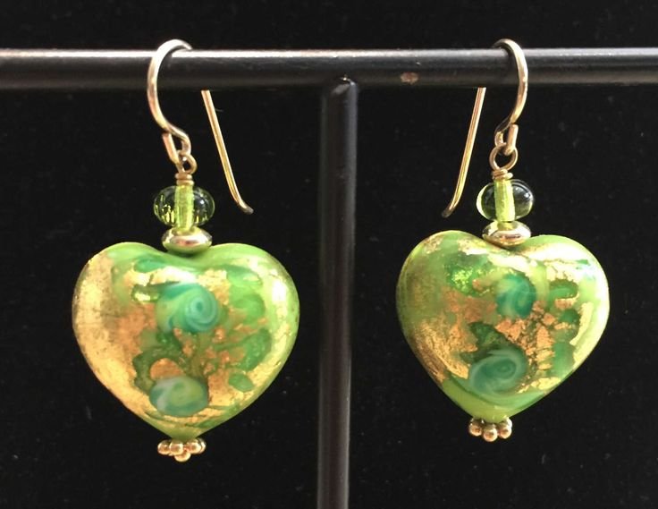 Murano Glass earrings with Green Fern pattern on a heart shaped bead by MuranoBling on Etsy https://www.etsy.com/au/listing/507010140/murano-glass-earrings-with-green-fern