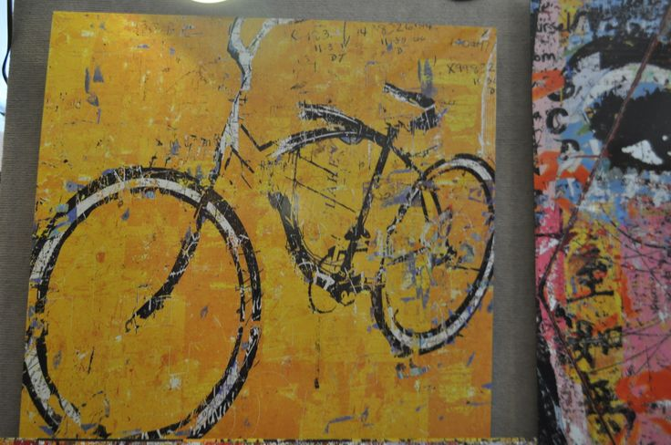 art abstract bycicle yellow background