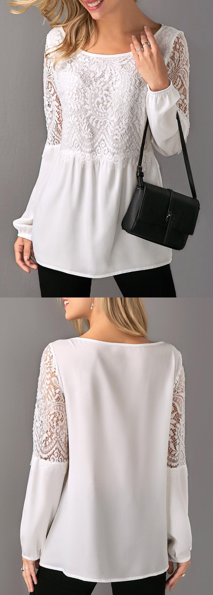 White Long Sleeve Lace Patchwork Blouse.