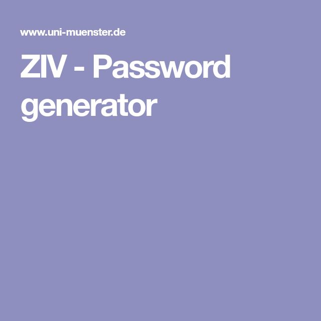 ZIV - Password generator