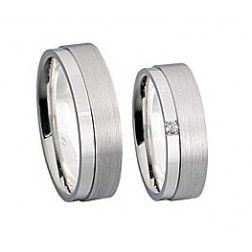 Hybride trouwringen zilver/witgoud 4666