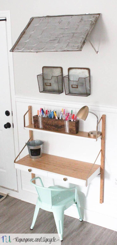 Kids Homework Station With Ikea Svalnas Wall Mounted Desk Kids Room Desk Kids Homework Station Kids Rooms Diy