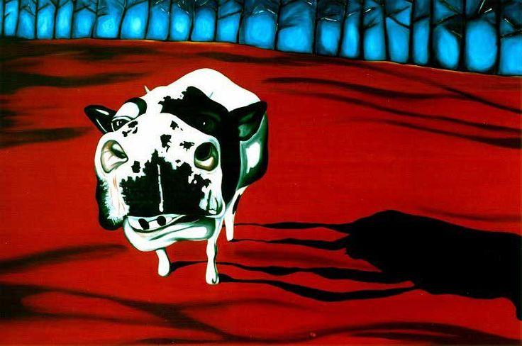 """Angelo Barile """"Mucca e Bosco""""  cm. 100 x 150 olio su tela #"""