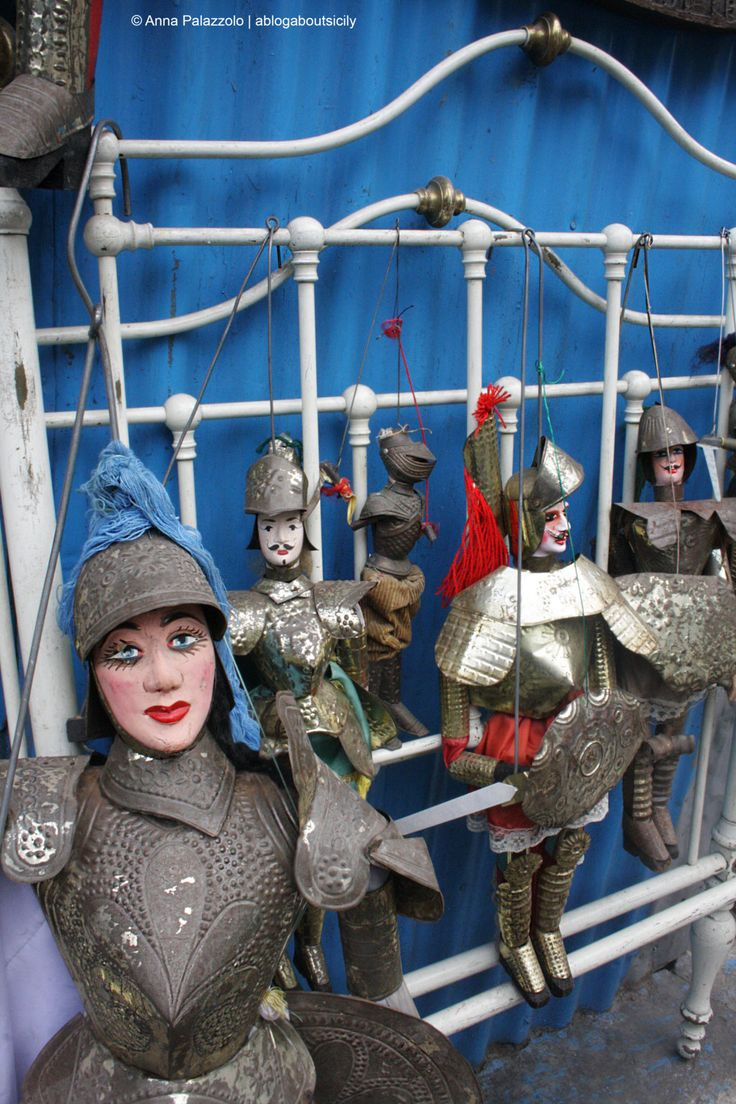 "When there wasn't tv there was #theatre and in #Sicily there were the ""Pupi"", puppets, represent the paladins, usually Orlando and Rinaldo. The ""pupari"" often were illitterate but knew by memory the stories of Paladins. There are puppets in an #antique market of #Palermo ablogaboutsicily.wordpress.com"