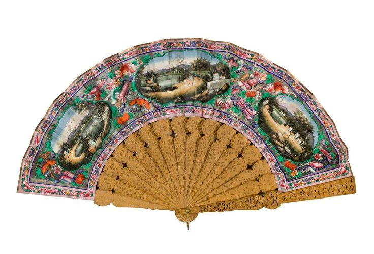 Mandarin or one hundred faces fan, with leaf painted front and back in dark bright colours with a Chinese scene, and with carved wood sticks and guards: Chinese, probably Canton, mid 19th century