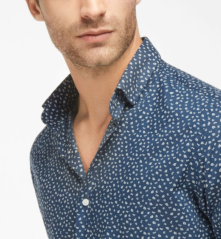 BLUE SLIM-FIT SHIRT WITH FLORAL PRINT, Casual shirts - MEN - Massimo Dutti