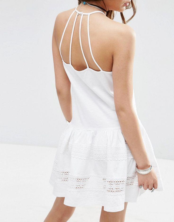Imagem 3 de ASOS Cotton Mini Vestido de Verão com inserções do laço