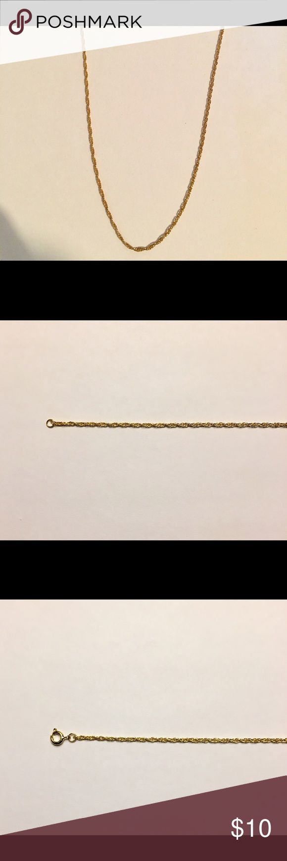 Gold Chain 14k gold 18 in 3mm RopeChain High quality 14k gold filled rope chain Chain is: • 3mm in width/thickness. • 18 inches long. • Gold filled with real gold. Gold filled is more valuable then plating and does not fade away or tarnish like plating. • High quality and durable. Able to carry a small pendent piece if you so desire. Chain will be:  • Packaged well and handled with care. • Shipped within the same or 1 day • Delivered in 2-3 business days of being shipped. Jewelry Necklaces