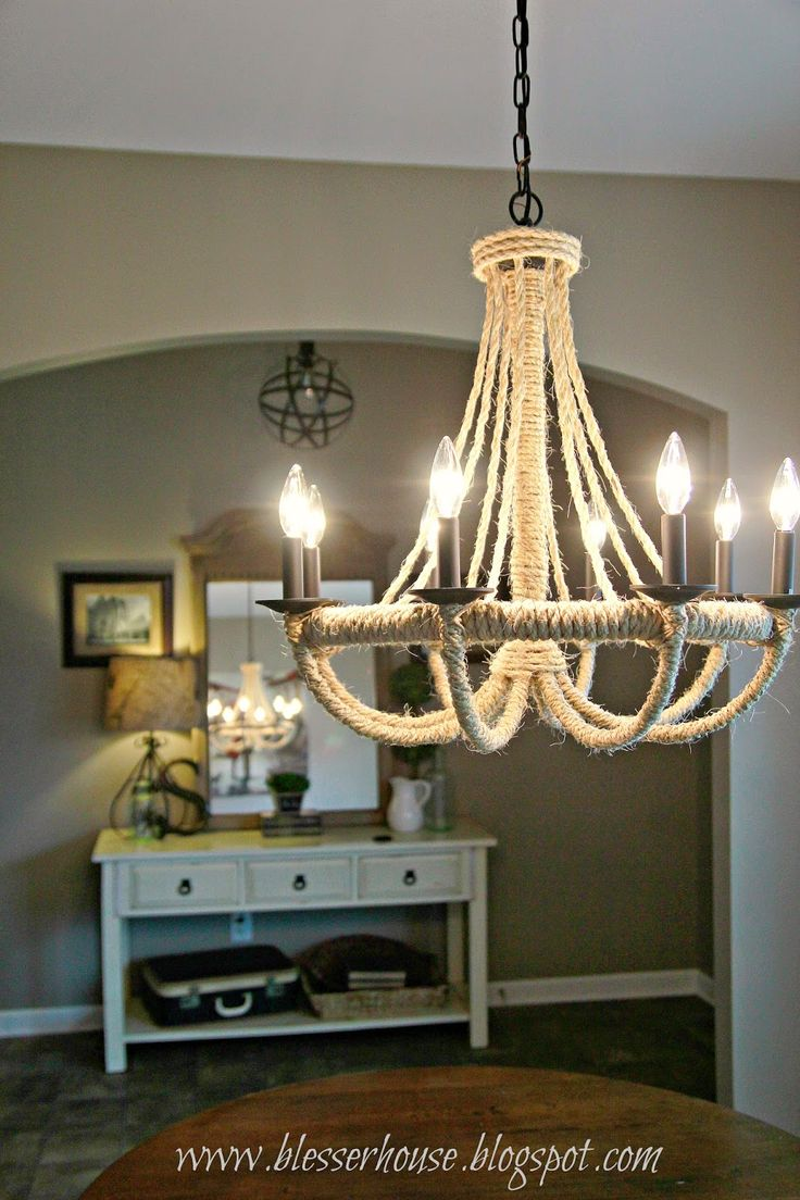 Marvelous DIY Restoration Hardware Knock Off Rope Chandelier