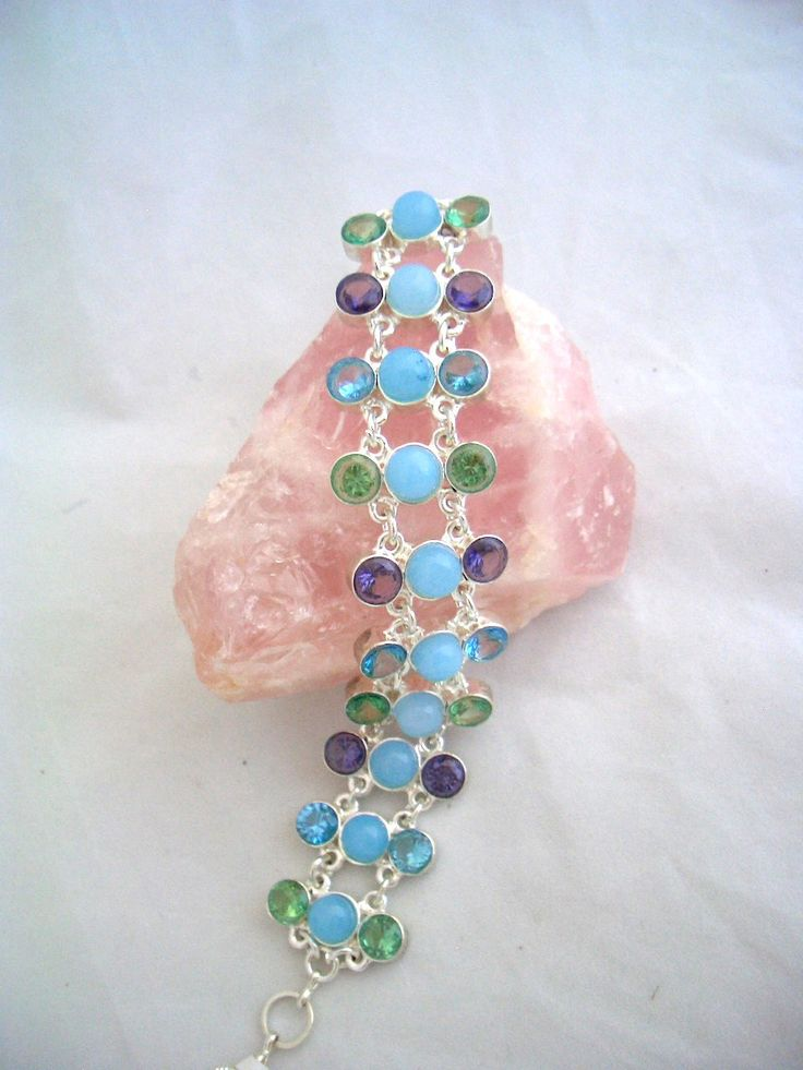 Splendid Jewellery made of 925 Sterling Silver, Chalcedony Genuine Gemstone, and Peridot, Amethyst and Blue Topaz (lab) Bracelet!! by Ameogem on Etsy