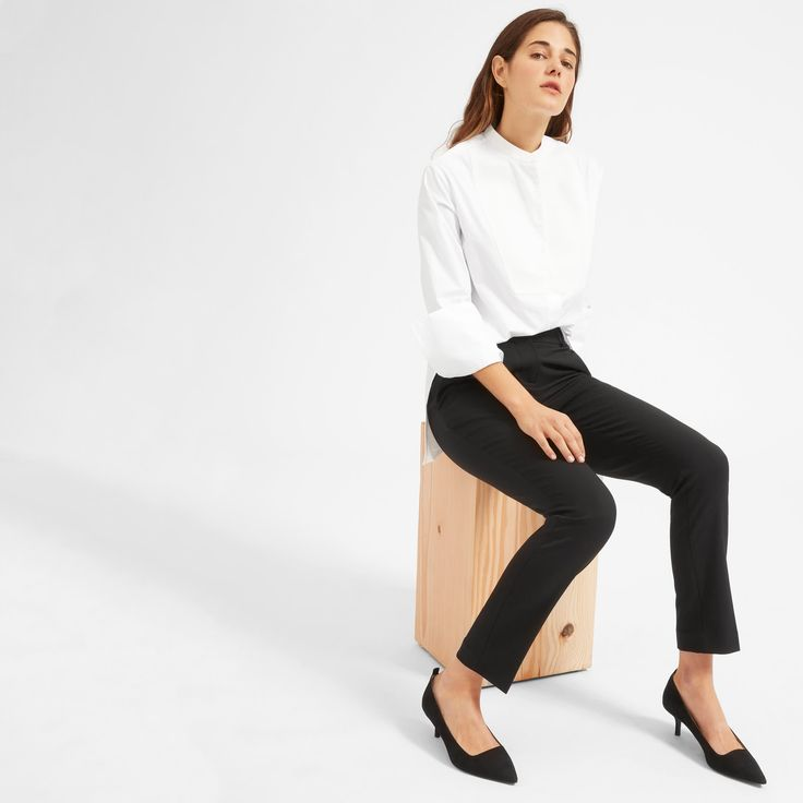 Meet your outfit maker. Longer than a traditional button-down, our tuxedo shirt has exaggerated side slits, French cuffs, and a textured front panel that feels special, not overdone. Cool tuxedo vibes—minus the frills and itchy suit.