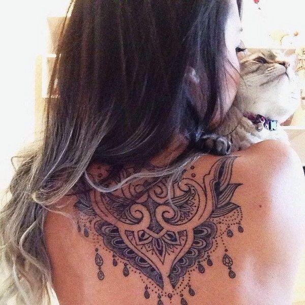 Stunning  Back of the Neck Tattoo Design for Girl