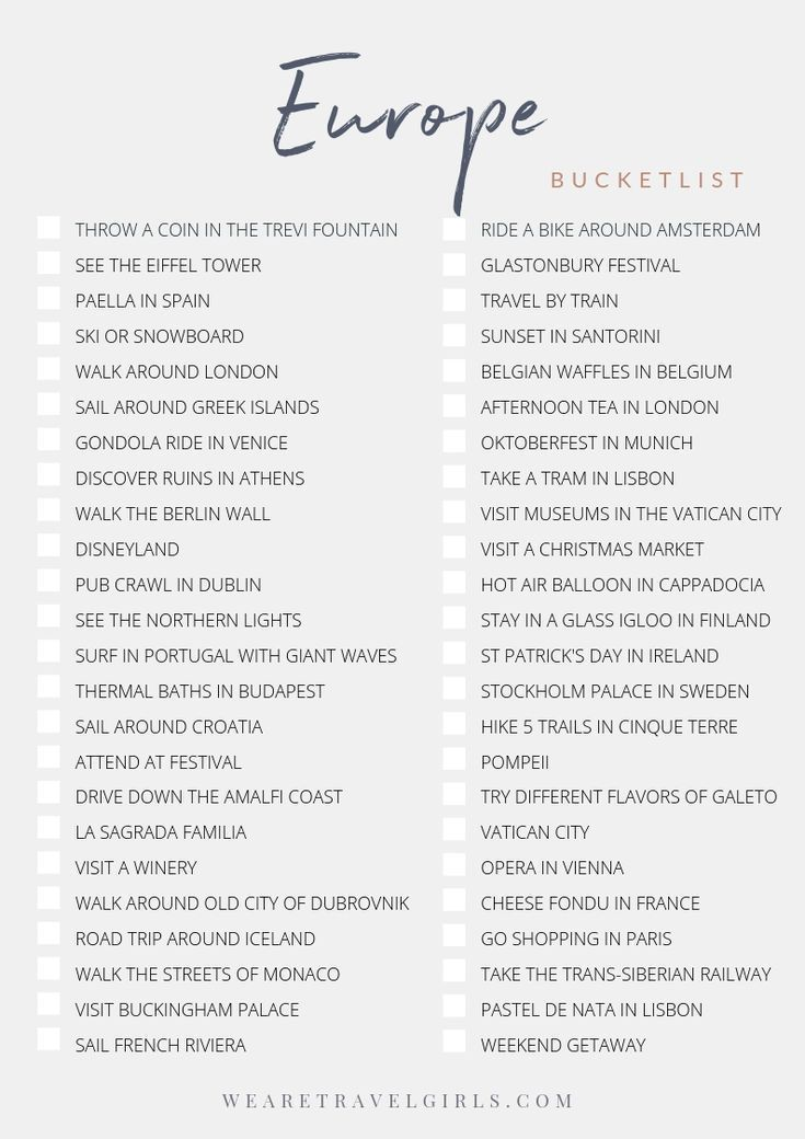 Europe Bucketlist Challenge. Download the free checklist in We Are Travel Girls … – Urlaub