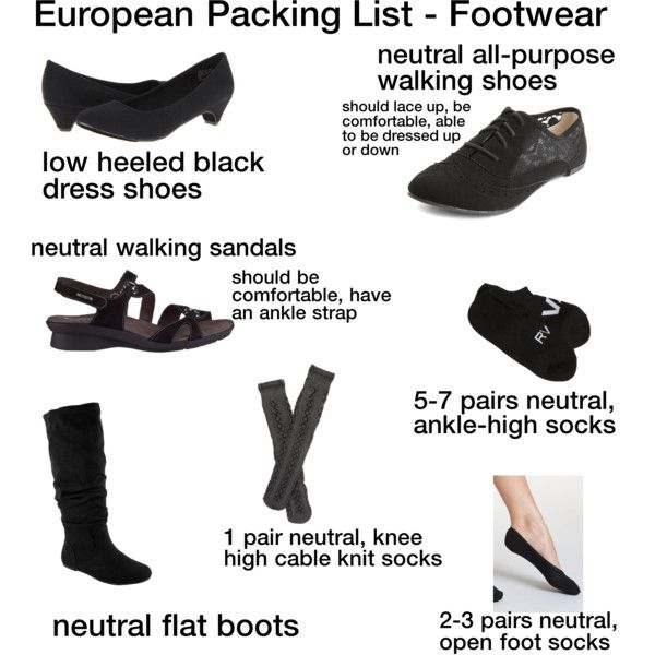 How to pack for a 4 month trip to Europe in ONE SUITCASE! Make weeks of outfits.  For footwear, you will need: -1 pair of all-purpose shoes in a neutral color....