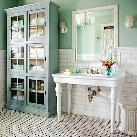 Seafoam  Subway tile   The Cottage Market: Beautiful Bathroom Ideas