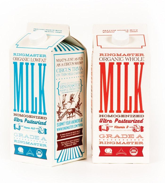 Vintage ringmaster milk carton design. Love the bold Milk. No questions here IMPDO.