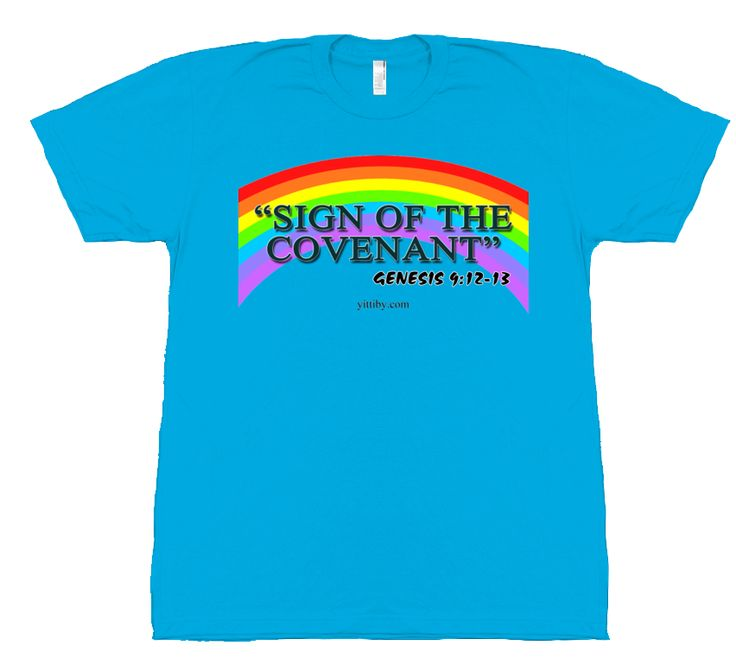 Light Blue Rainbow Covenant T Shirt by Yittiby.com, comes is a wide range of colors. Click the image or website link to see now!