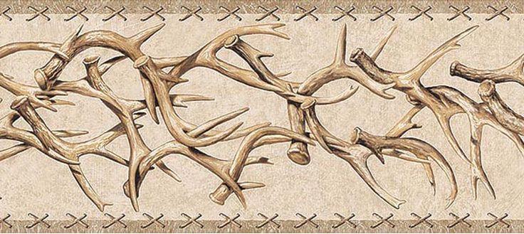 WESTERN DEER ANTLERS Beige Wallpaper Border TA39016B