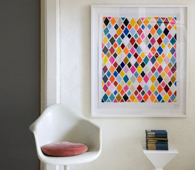 Neat idea for some cheap wall art...get paint sample patches from home depot or lowes!