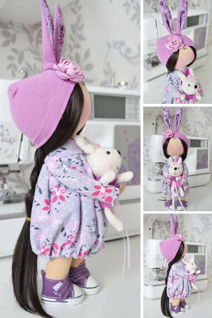 Handmade doll Love doll Tilda doll Art doll Interior doll brunette violet colors soft doll Cloth doll Fabric doll by Master Tanya Evteeva