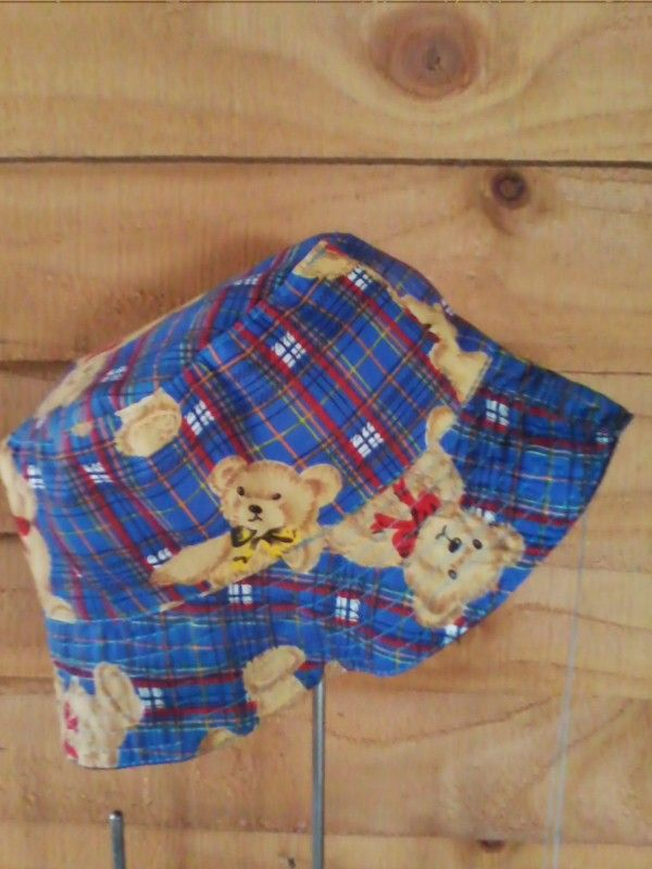 Blue tartan teddy reversible denim bucket hat