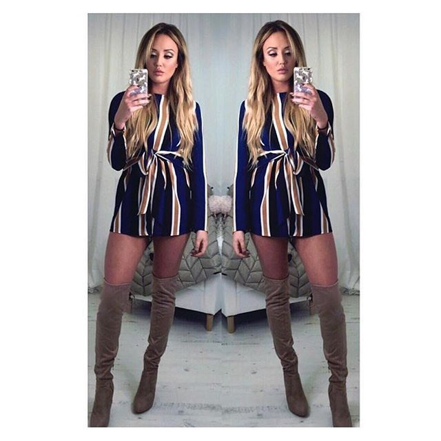 Nude & Navy!  This beaut playsuit from @charlottegshore is back online & selling FAST!! ✌️ £29.99  inthestyle.com