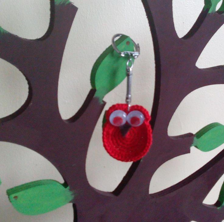 Chouette rouge vraiment trop chouette !!! : Porte clés par pamamoune