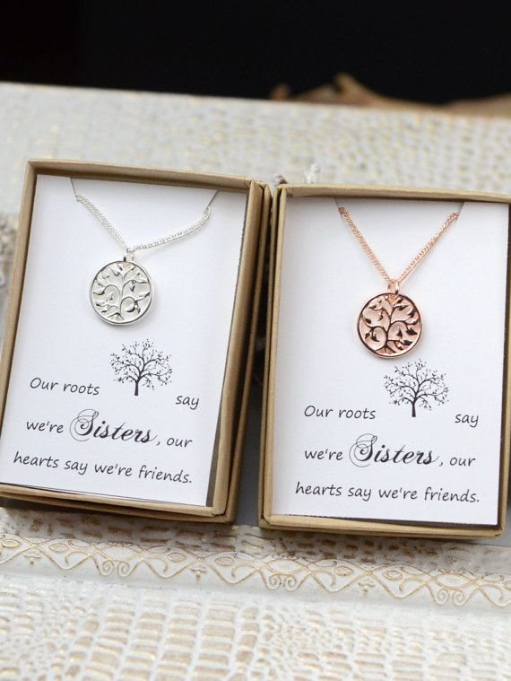 Sister set - sister necklace /bracelets for 2 - sister gift - sister jewelry - unique gifts for sisters - gifts for sister - sister wedding Please see drop down menu on the right of the listing , you select the 2 options . Finish metal - beautiful tree pendant necklace in 3 styles for