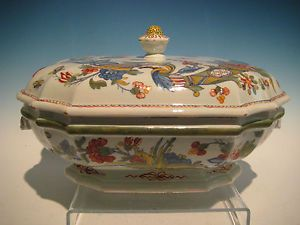 Antique Faïence de Rouen Large Heavy Lidded Tureen 1880s French Country Quimper