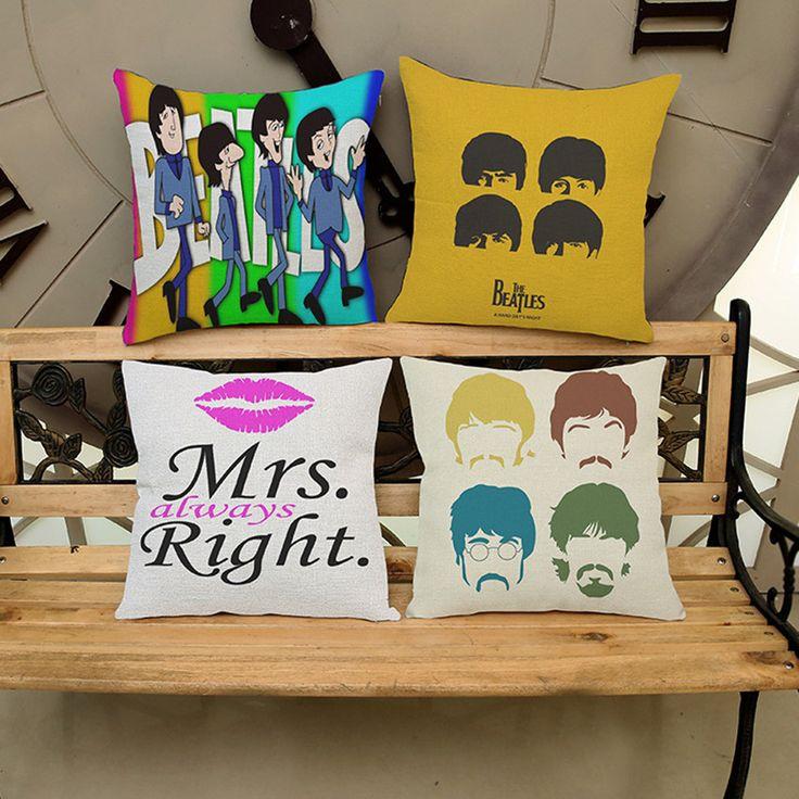 45*45cm Square Home Decorative Cartoon Beatles Cushion Pillow Pillowcase Cute Singer Printed Cushion almofadas #Affiliate