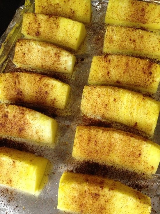 Roasted Pineapple with Cinnamon - Bake at 400 degrees for 10 minutes - OR the best option would be cinnamon and coconut sugar then throw them on the grill! Best paleo dessert!!! - foodandsome