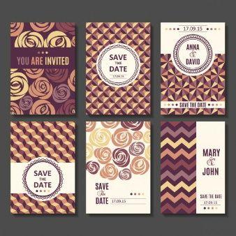 Set von Vektor-Vorlagen Einladung für das Baby Datum speichern Geburtstag Dusche Mütter Tag Valentines Tag
