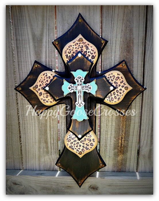 "This cross was featured on the set of the hit CBS show ""THE ODD COUPLE""!!! - Medium Wall CROSS - Antiqued Black & turquoise, with leopard/cheetah print - Gorgeous!!!"