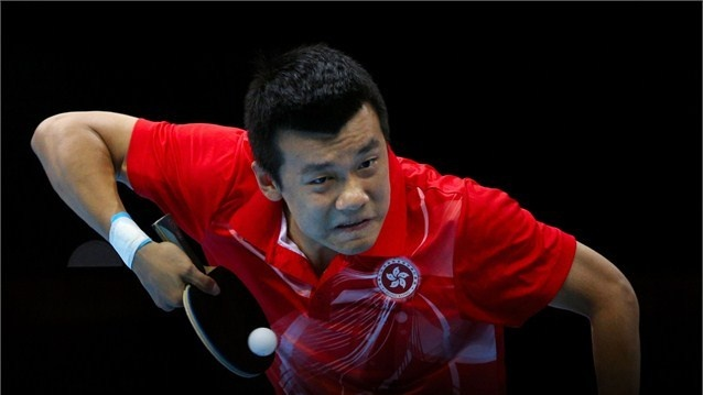 Tang Peng of Hong Kong, China competes against Dimitrij Ovtcharov of Germany  Tang Peng of Hong Kong, China competes against Dimitrij Ovtcharov of Germany during the men's Team Table Tennis bronze medal match on Day 12 of the London 2012 Olympic Games at ExCeL