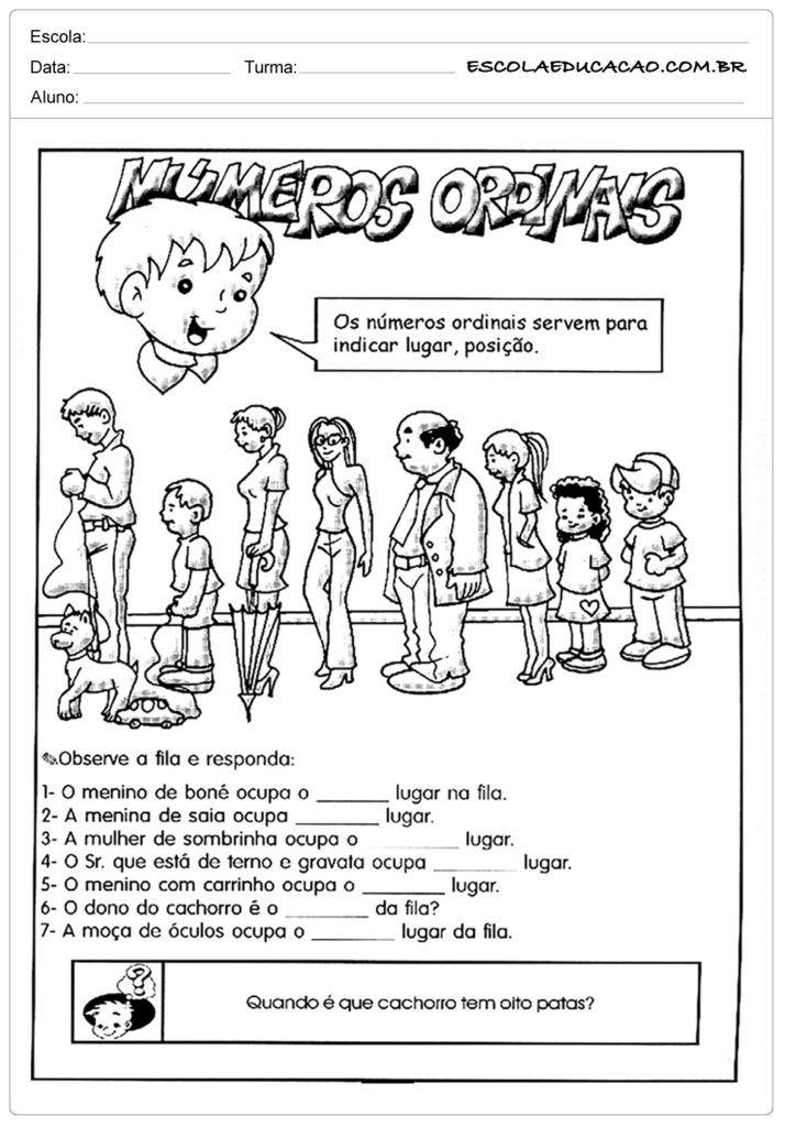 Atividades Com Numeros Ordinais Para Alfabetizacao Observe A