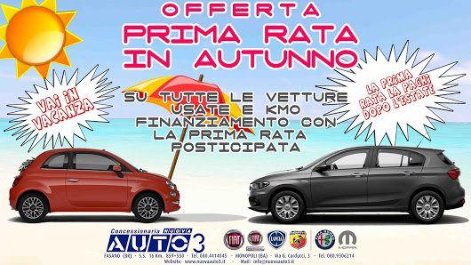 Vai in #vacanza, la prima rata la paghi dopo l'#estate. #Offerta su tutte le vetture #usate e #kmo.