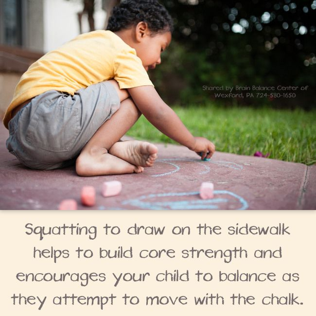 Squatting to draw on the sidewalk helps to build core strength and encourages your child to balance as they attempt to move with the chalk.   This activity also leads to games like hopscotch which offer further opportunity to develop #grossmotorskills.