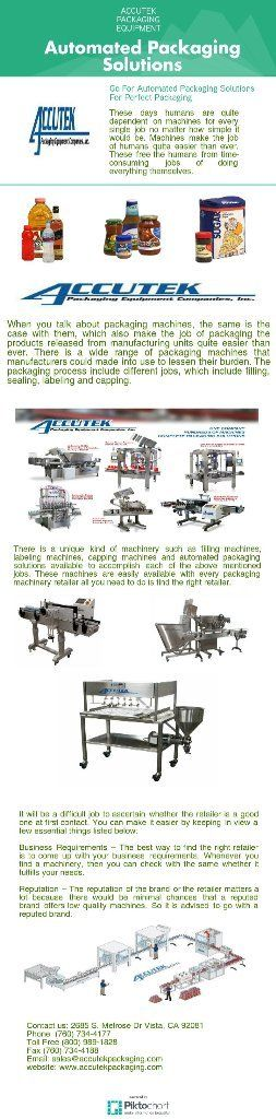The advent of packaging machines of different types has made their job quite easier than ever before. The use of these machines saves a good amount of time and the job of packaging can be completed well before the promised time. Browse Accutek Packaging Equipment to know more about us and our packaging machines!