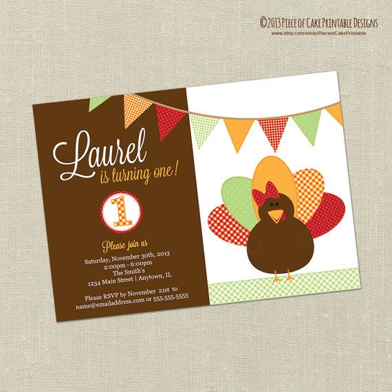 Printable Thanksgiving Birthday Party Invitation - Turkey Girl - Thanksgiving Theme