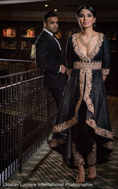 Elegant indian bride and groom's reception outfit http://www.maharaniweddings.com/gallery/photo/131652