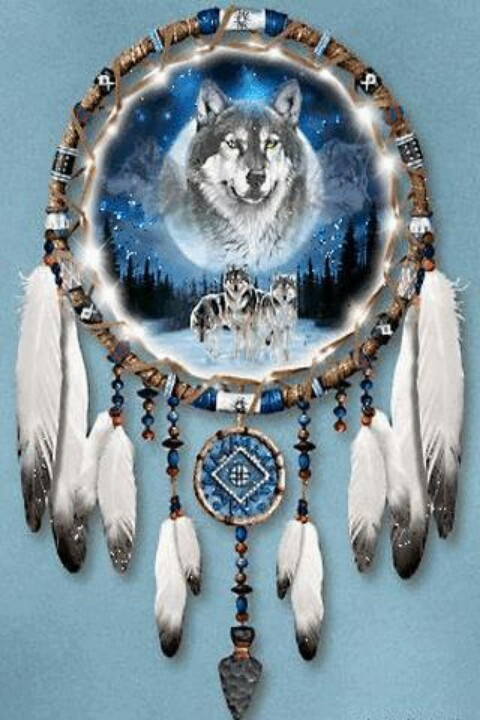 Dreamcatcher wolf, cross in blues