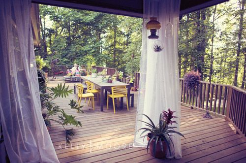 Large wooden patio next to the forest. #patio #terrace #forest