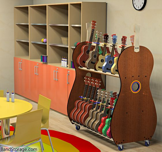 This mobile ukulele classrom storage rack enables music teachers to store up to 30 ukuleles in sizes from soprano to baritone, in an attractive, mobile cart that makes the instruments quickly and easily accessible to your students. It's also available in an 18-capacity version.