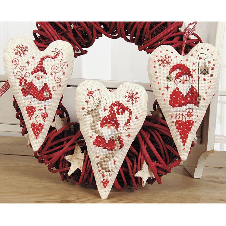 Christmas Gnomes Holiday Hearts - Cross Stitch, Needlepoint, Stitchery, and…