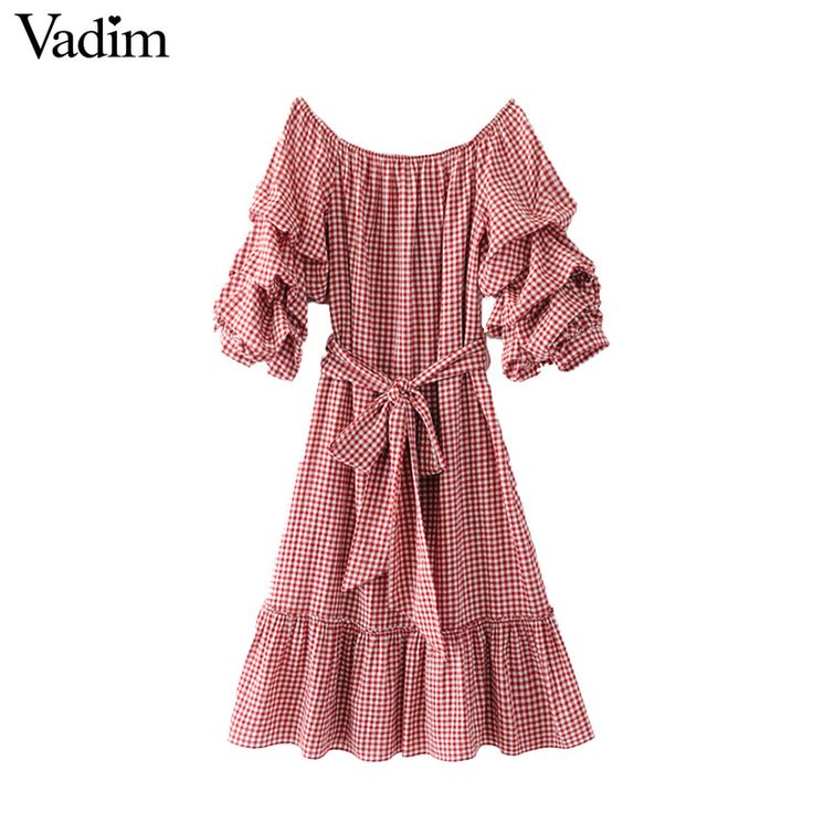 Trova più Abiti Informazioni su Vadim sexy delle donne slash neck vestito plaid dolce ruffles telai del manicotto della lanterna delle signore casual abiti plissé vestidos QZ3077, Alta Qualità dress vestidos, Cina pleated dress Fornitori, A buon prezzo plaid dress da vadim Official Store su Aliexpress.com