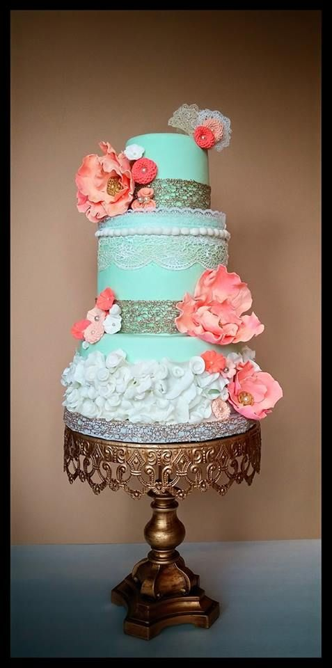 in LOVE with this mint green and coral wedding cake! ~  we ❤ this! moncheribridals.com