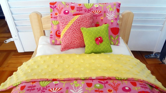 "Flowers on pink and yellow - Doll bedding set for AG dolls, Bitty Twin, Bitty baby and Waldorf dolls up to 15 inches - The bed in pic is an IKEA bed and measures actually 14"" x 20"".  The bedding set also fits the American Girl doll beds - by #mylittlepoppyseed on #etsy - Visit and like my Facebook page and my Etsy shop - Bienvenue dans ma boutique!  https://www.facebook.com/MyLittlePoppySeedCreations  https://www.etsy.com/ca/shop/mylittlepoppyseed"