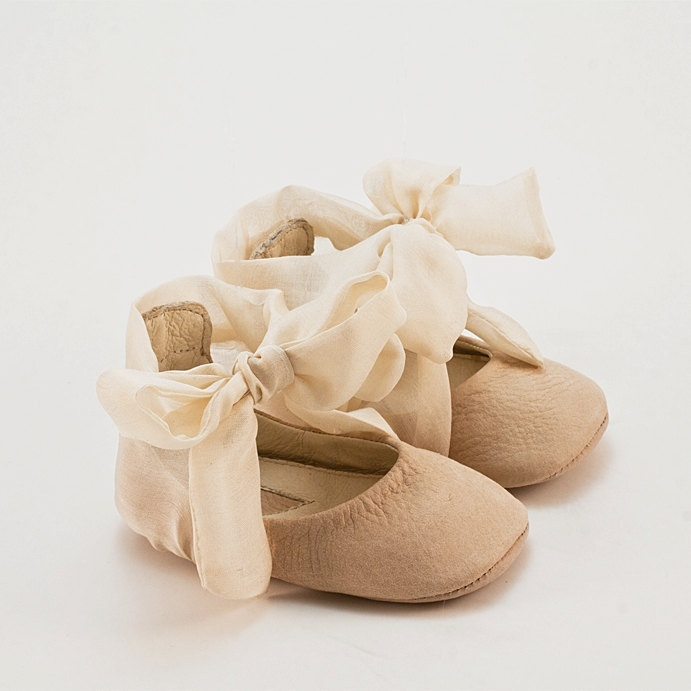 Beige leather baby shoes with shirred silk -eco friendly. $55.00, via Etsy.