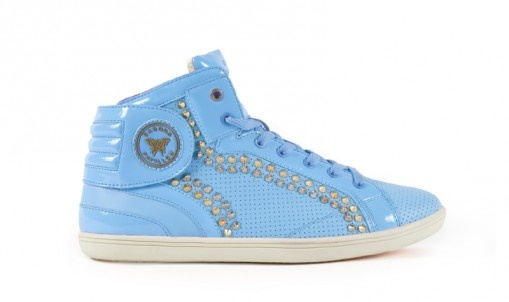 French Sneakers Fluo Blue Lagoon  Clous Doublé Rangée Or & Argent