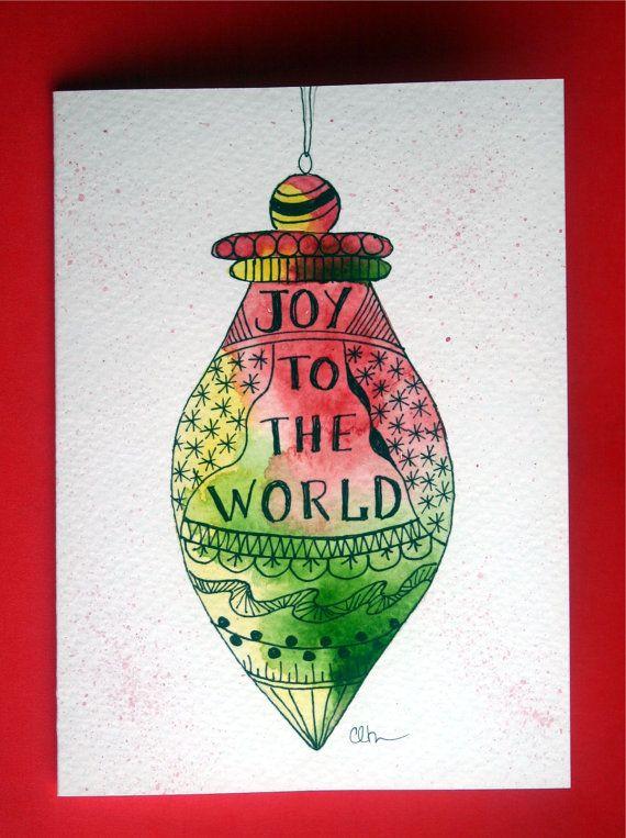Watercolor card, ( No. 103), Christmas ornament, greeting card, Christmas, ornament, holiday, original art. $4.75, via Etsy.